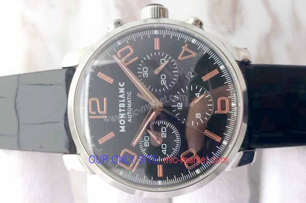 Fake Mont blanc Timewalker Chrono Watch 43mm Black Dial